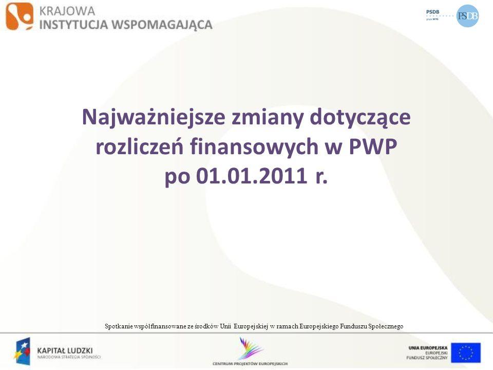 Najważniejsze zmiany dotyczące rozliczeń finansowych w PWP po 01. 01