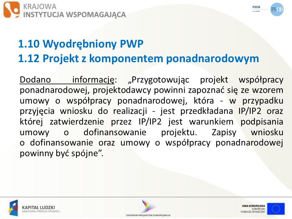 1.10 Wyodrębniony PWP 1.12 Projekt z komponentem ponadnarodowym