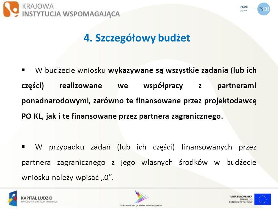 4. Szczegółowy budżet