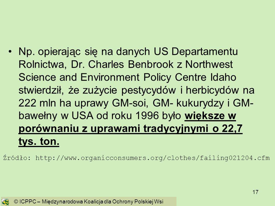 Np. opierając się na danych US Departamentu Rolnictwa, Dr