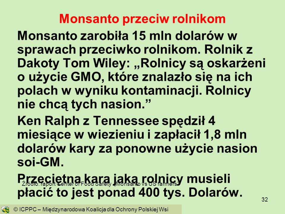 Monsanto przeciw rolnikom