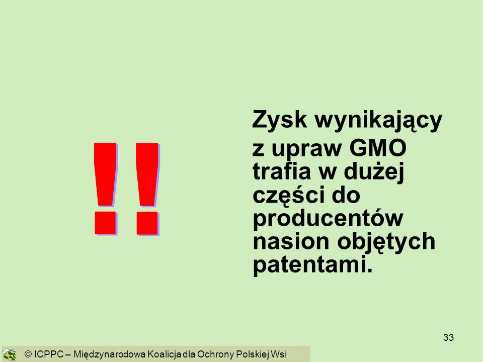 Zysk wynikający z upraw GMO trafia w dużej części do producentów nasion objętych patentami. ! !