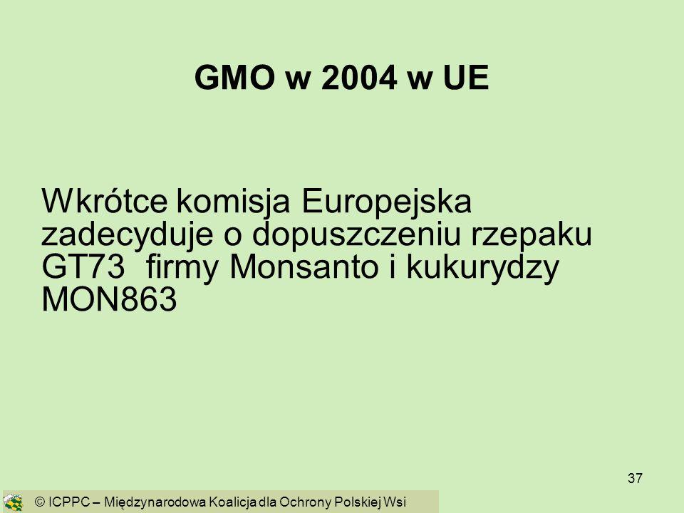 GMO w 2004 w UE Wkrótce komisja Europejska zadecyduje o dopuszczeniu rzepaku GT73 firmy Monsanto i kukurydzy MON863.