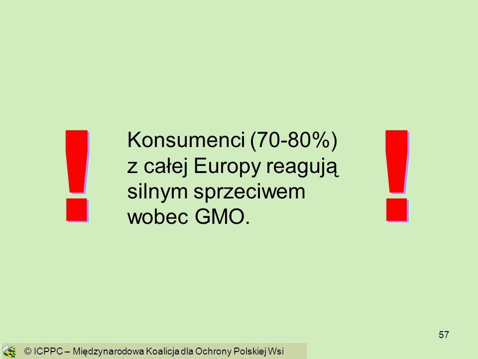 Konsumenci (70-80%) z całej Europy reagują silnym sprzeciwem wobec GMO.