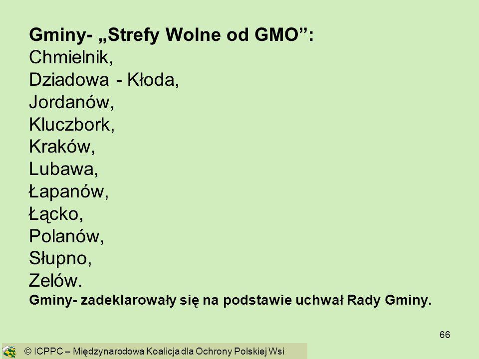"""Gminy- """"Strefy Wolne od GMO : Chmielnik, Dziadowa - Kłoda, Jordanów,"""