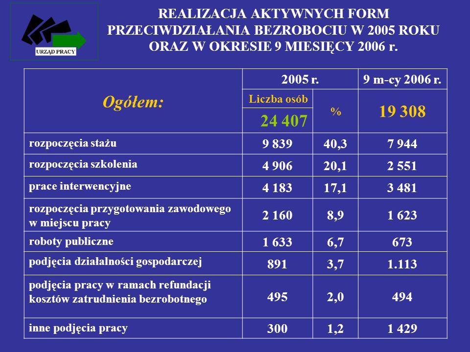 REALIZACJA AKTYWNYCH FORM PRZECIWDZIAŁANIA BEZROBOCIU W 2005 ROKU ORAZ W OKRESIE 9 MIESIĘCY 2006 r.
