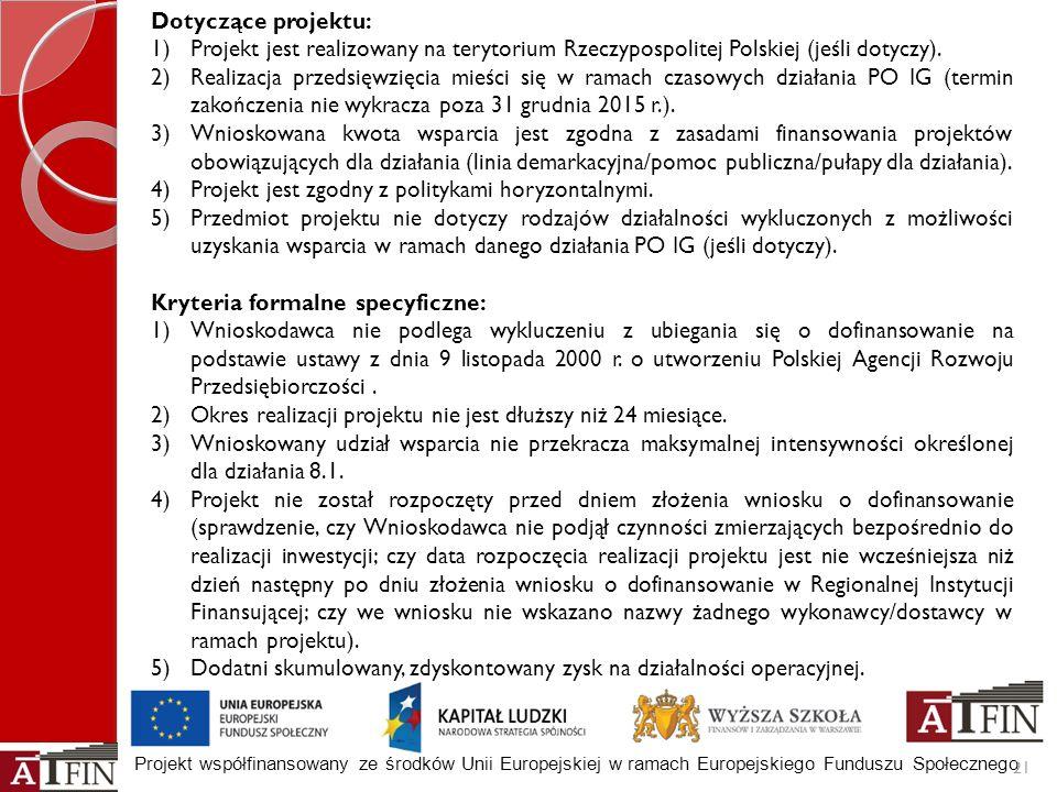 Dotyczące projektu: Projekt jest realizowany na terytorium Rzeczypospolitej Polskiej (jeśli dotyczy).