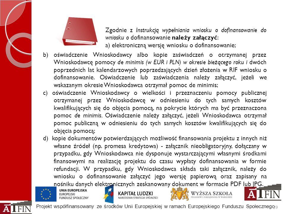 Zgodnie z Instrukcją wypełniania wniosku o dofinansowanie do wniosku o dofinansowanie należy załączyć: