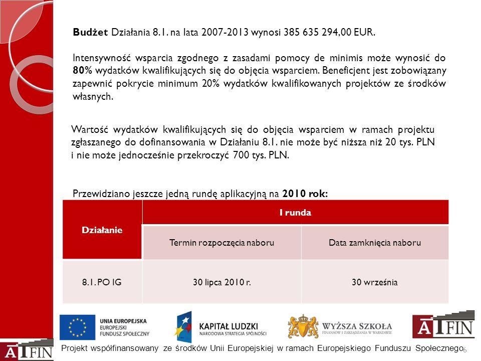 Budżet Działania 8.1. na lata 2007-2013 wynosi 385 635 294,00 EUR.