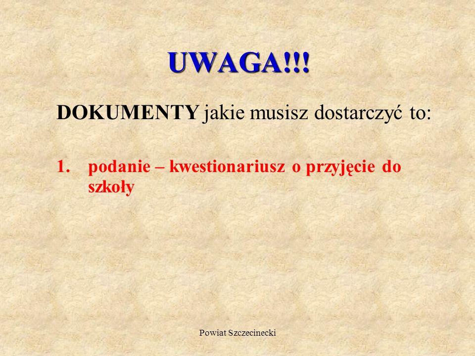 UWAGA!!! DOKUMENTY jakie musisz dostarczyć to: