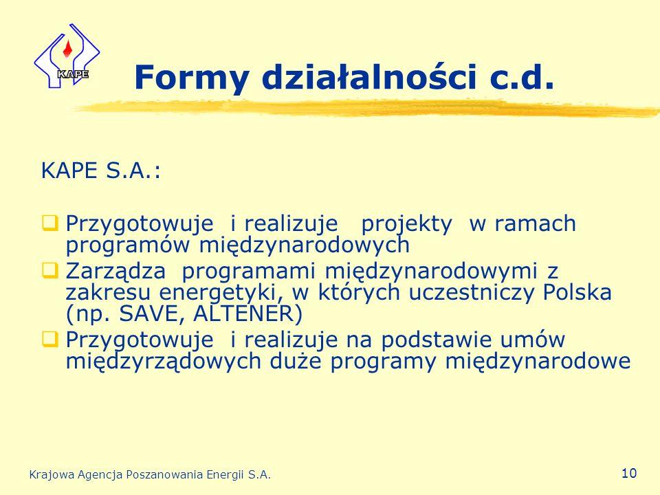Formy działalności c.d. KAPE S.A.: