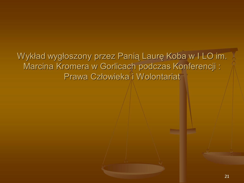 Wykład wygłoszony przez Panią Laurę Koba w I LO im