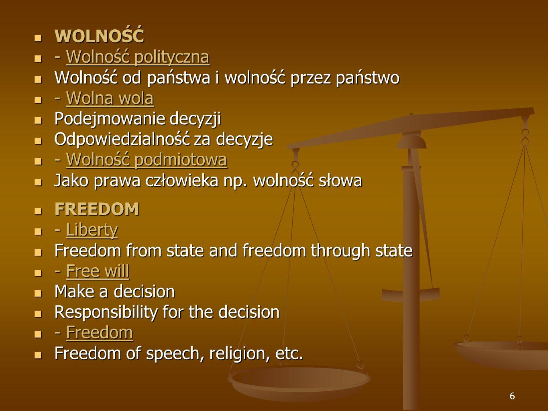 WOLNOŚĆ - Wolność polityczna. Wolność od państwa i wolność przez państwo. - Wolna wola. Podejmowanie decyzji.