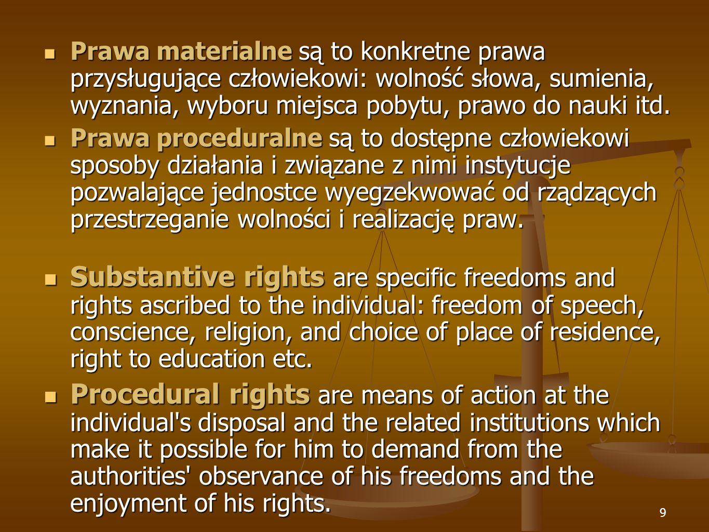 Prawa materialne są to konkretne prawa przysługujące człowiekowi: wolność słowa, sumienia, wyznania, wyboru miejsca pobytu, prawo do nauki itd.