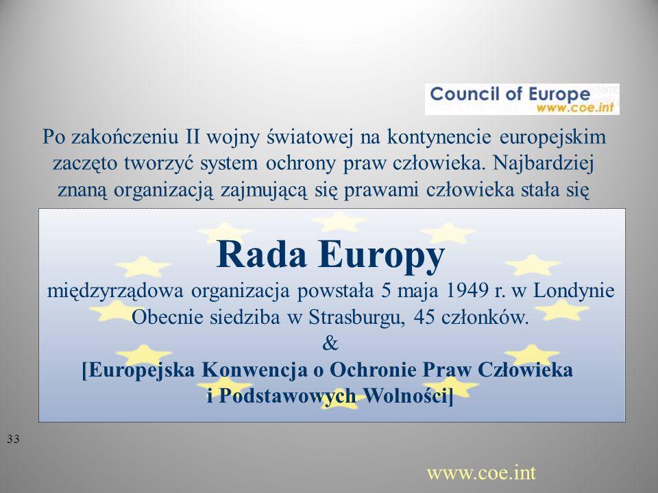 Po zakończeniu II wojny światowej na kontynencie europejskim zaczęto tworzyć system ochrony praw człowieka. Najbardziej znaną organizacją zajmującą się prawami człowieka stała się