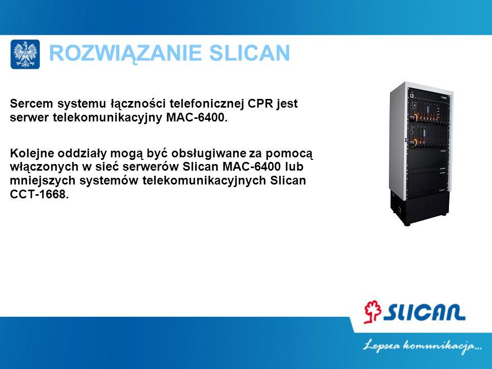 ROZWIĄZANIE SLICAN Sercem systemu łączności telefonicznej CPR jest serwer telekomunikacyjny MAC-6400.