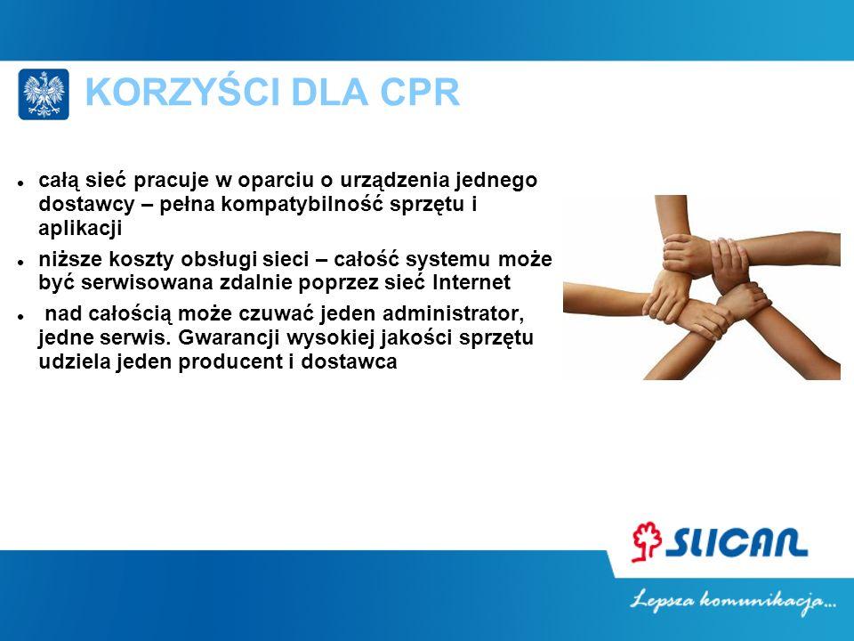KORZYŚCI DLA CPR całą sieć pracuje w oparciu o urządzenia jednego dostawcy – pełna kompatybilność sprzętu i aplikacji.