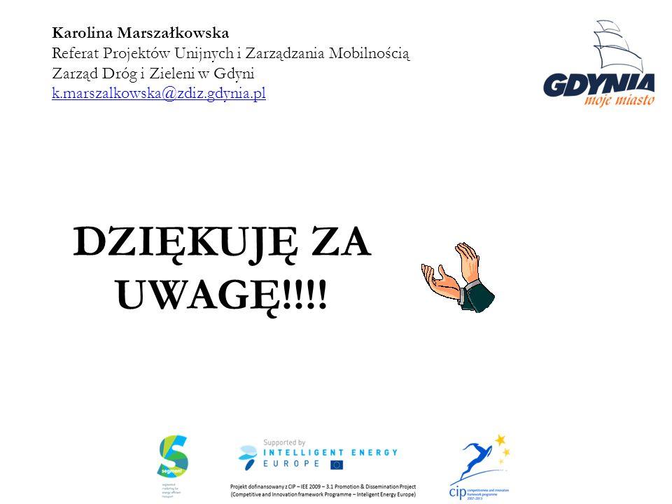 Karolina Marszałkowska Referat Projektów Unijnych i Zarządzania Mobilnością Zarząd Dróg i Zieleni w Gdyni k.marszalkowska@zdiz.gdynia.pl