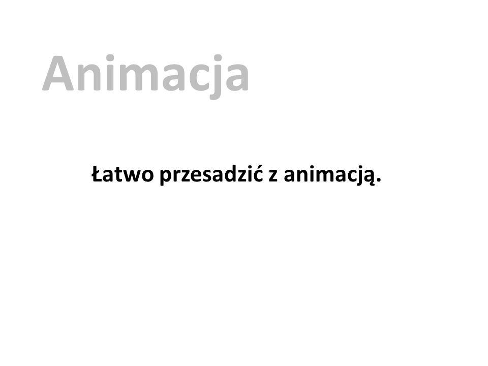 Animacja Łatwo przesadzić z animacją.