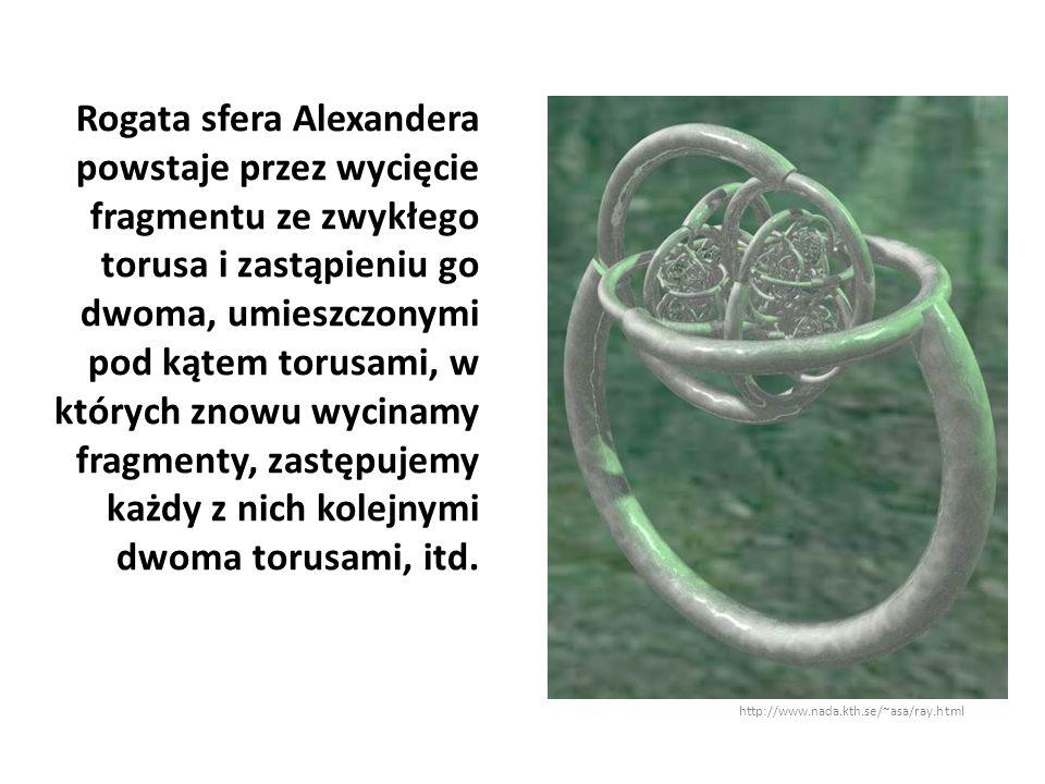 Rogata sfera Alexandera powstaje przez wycięcie fragmentu ze zwykłego torusa i zastąpieniu go dwoma, umieszczonymi pod kątem torusami, w których znowu wycinamy fragmenty, zastępujemy każdy z nich kolejnymi dwoma torusami, itd.