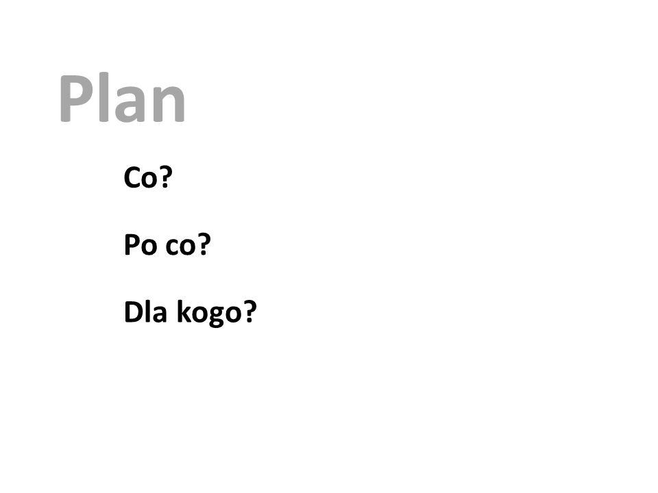 Plan Co Po co Dla kogo