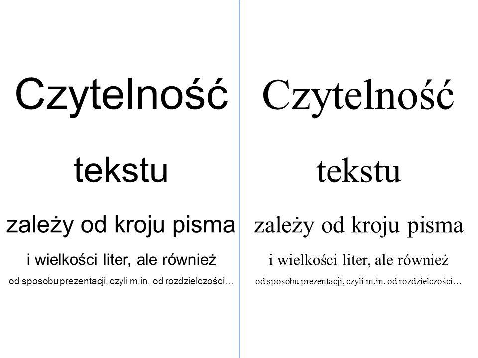 Czytelność Czytelność tekstu tekstu zależy od kroju pisma