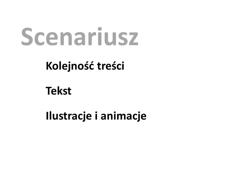 Scenariusz Kolejność treści Tekst Ilustracje i animacje