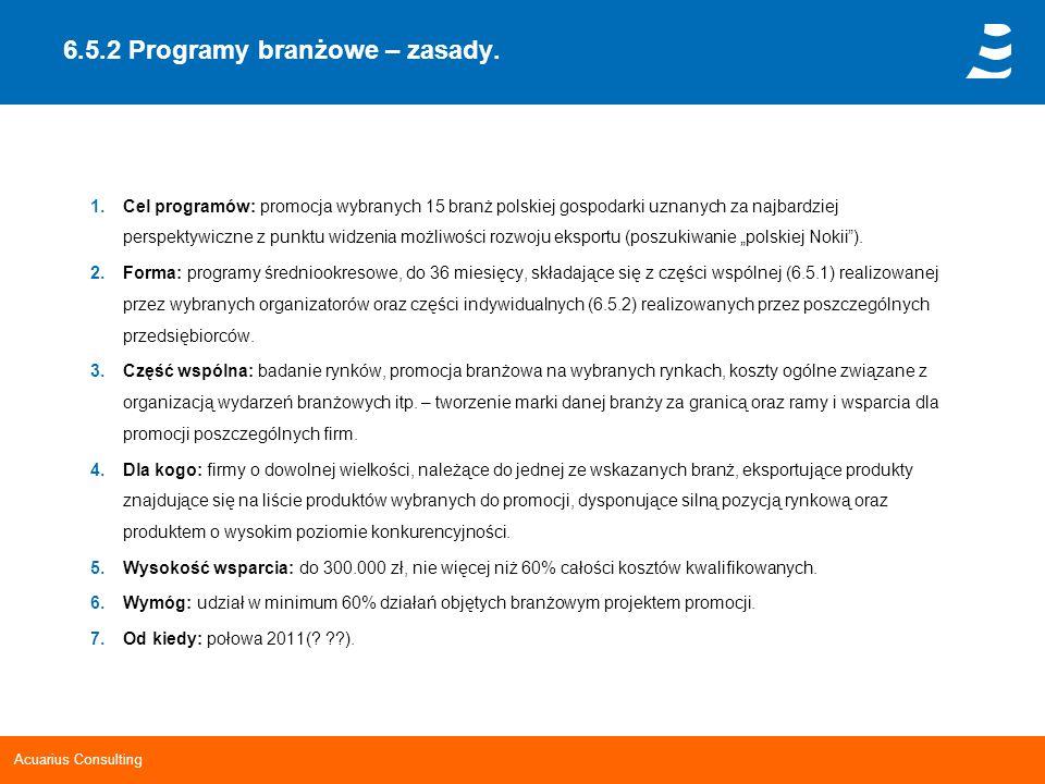 6.5.2 Programy branżowe – zasady.