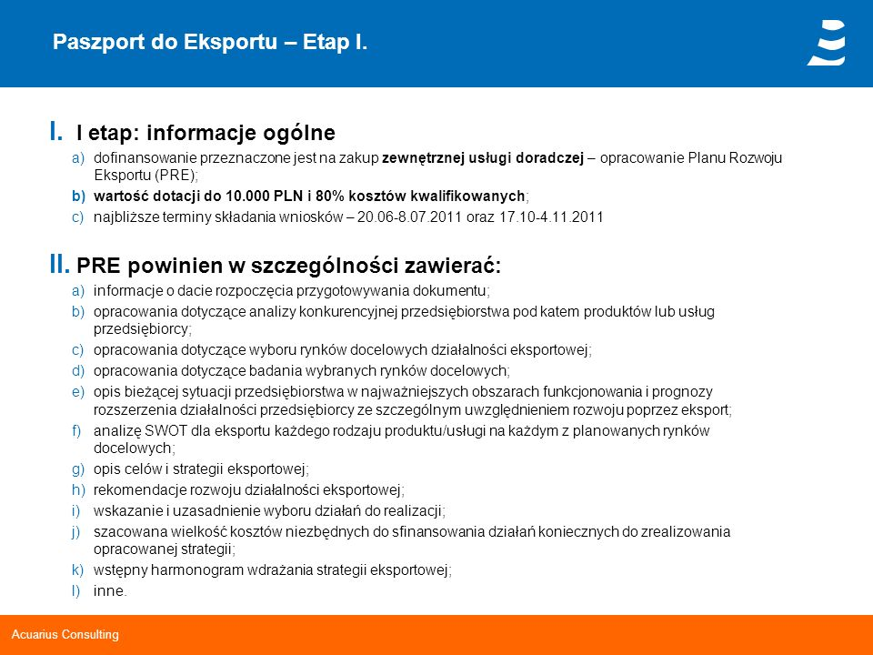 Paszport do Eksportu – Etap I.