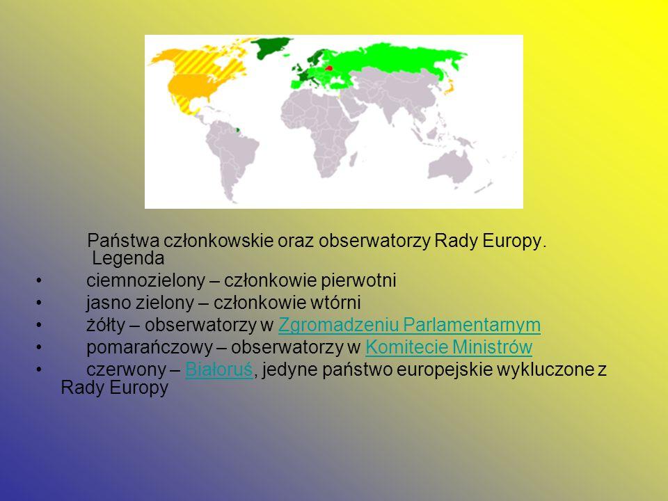 Państwa członkowskie oraz obserwatorzy Rady Europy. Legenda