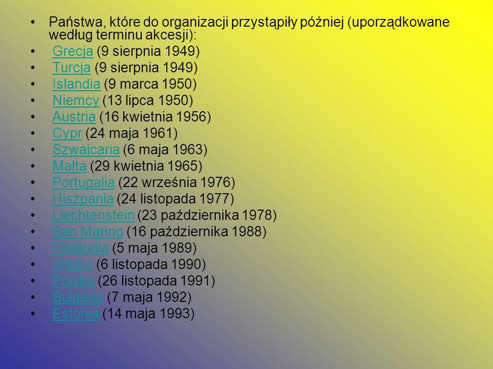 Państwa, które do organizacji przystąpiły później (uporządkowane według terminu akcesji):