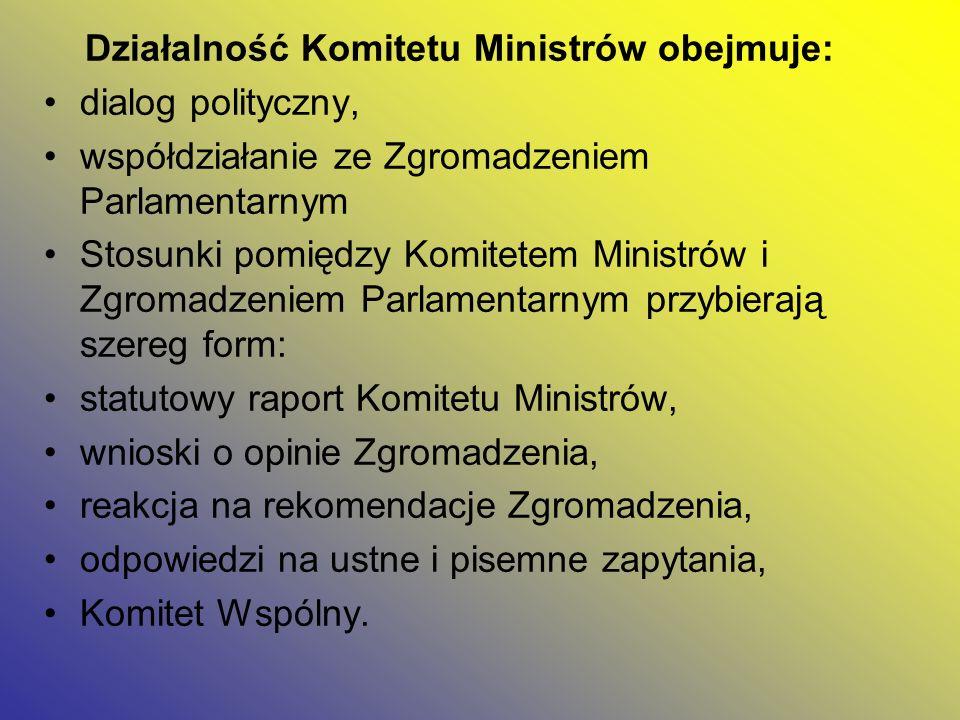 Działalność Komitetu Ministrów obejmuje: