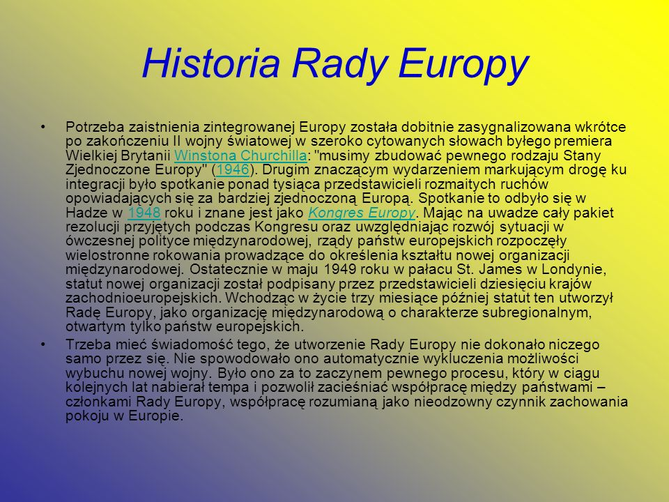 Historia Rady Europy