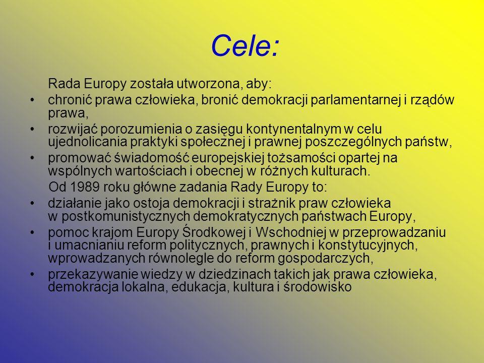 Cele: Rada Europy została utworzona, aby: