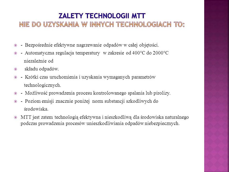 Zalety technologii MTT nie do uzyskania w innych technologiach to: