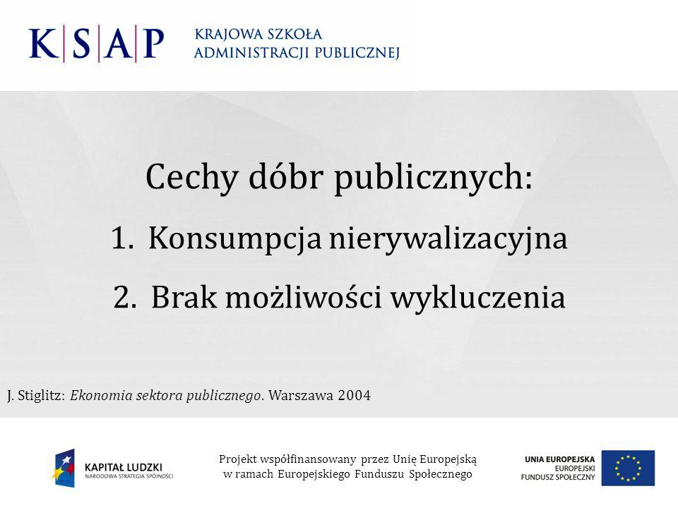 Cechy dóbr publicznych: