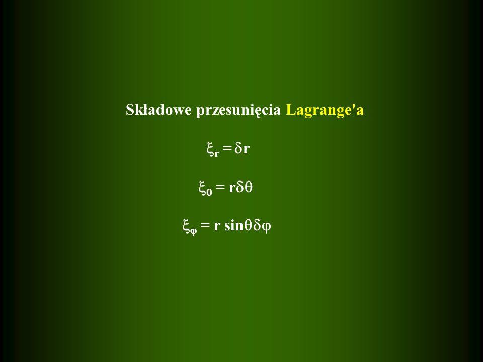 Składowe przesunięcia Lagrange a