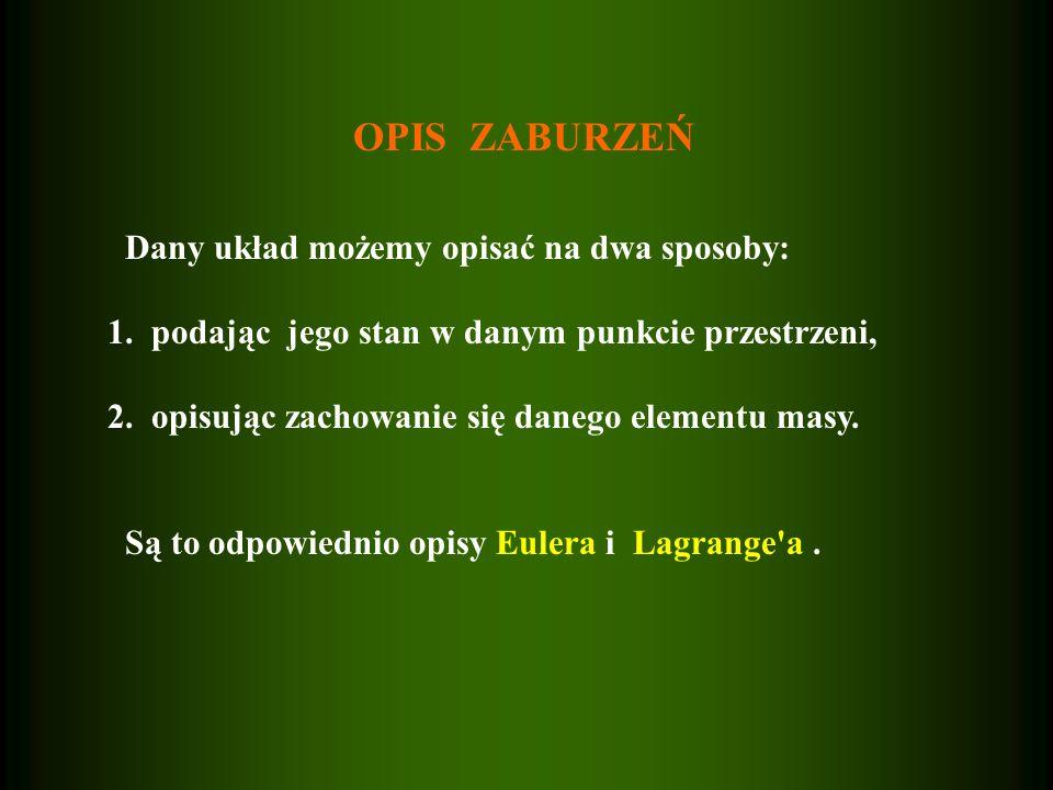 OPIS ZABURZEŃ Dany układ możemy opisać na dwa sposoby: