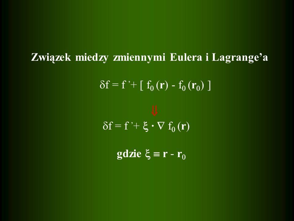 Związek miedzy zmiennymi Eulera i Lagrange'a