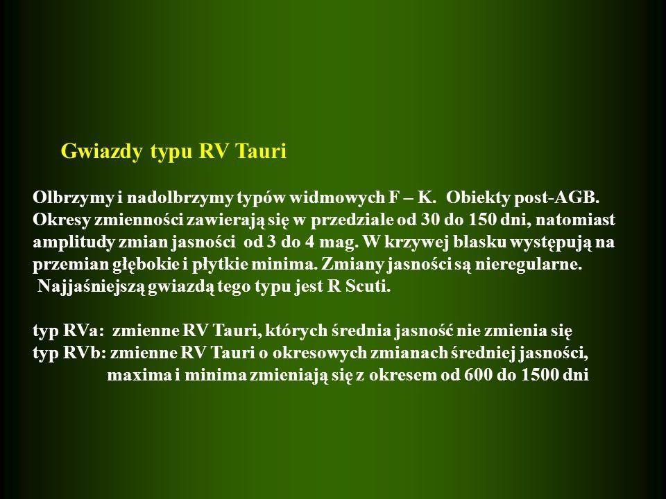 Gwiazdy typu RV Tauri Olbrzymy i nadolbrzymy typów widmowych F – K. Obiekty post-AGB.