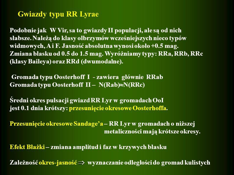 Gwiazdy typu RR Lyrae Podobnie jak W Vir, sa to gwiazdy II populacji, ale są od nich.