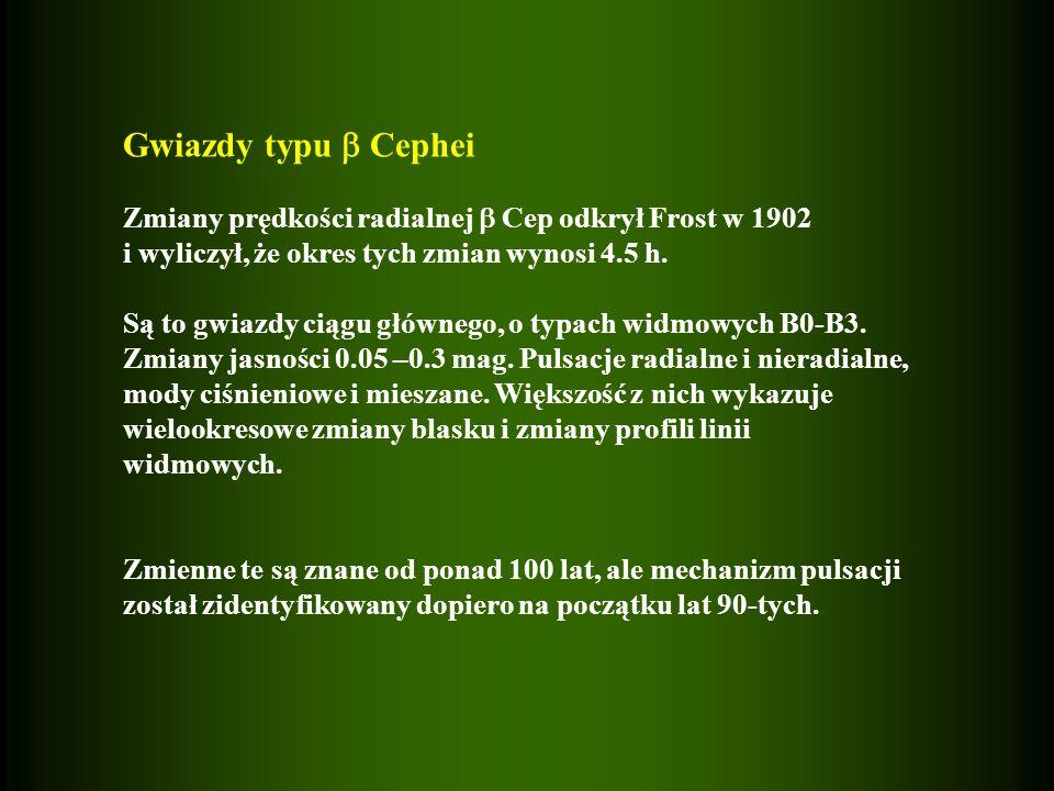 Gwiazdy typu  Cephei Zmiany prędkości radialnej  Cep odkrył Frost w 1902. i wyliczył, że okres tych zmian wynosi 4.5 h.