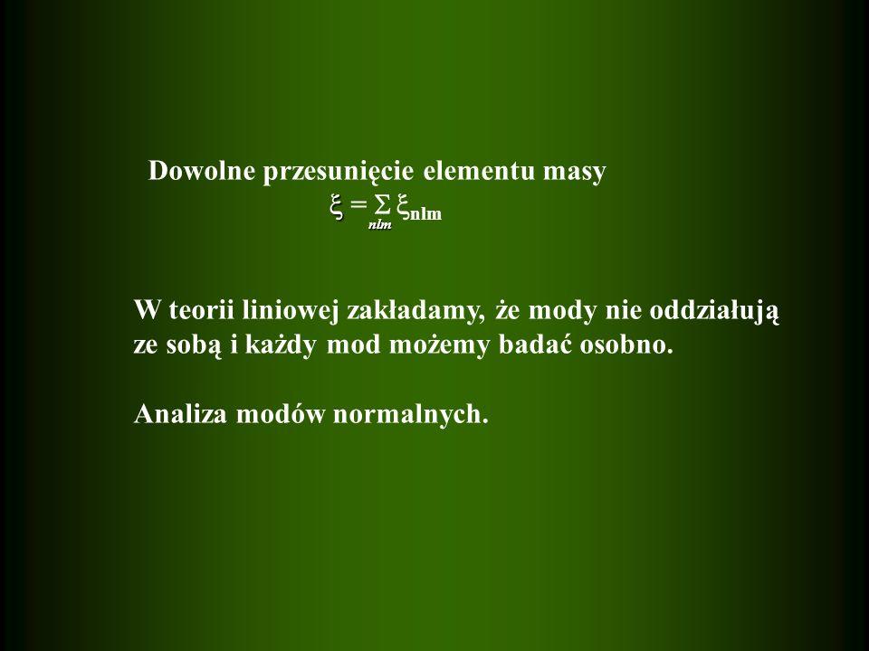 Dowolne przesunięcie elementu masy  =  nlm