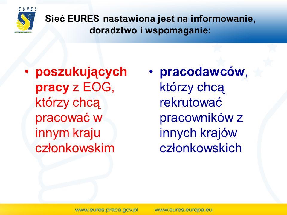 Sieć EURES nastawiona jest na informowanie, doradztwo i wspomaganie:
