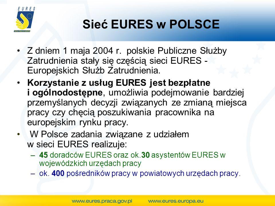 Sieć EURES w POLSCE Z dniem 1 maja 2004 r. polskie Publiczne Służby Zatrudnienia stały się częścią sieci EURES - Europejskich Służb Zatrudnienia.