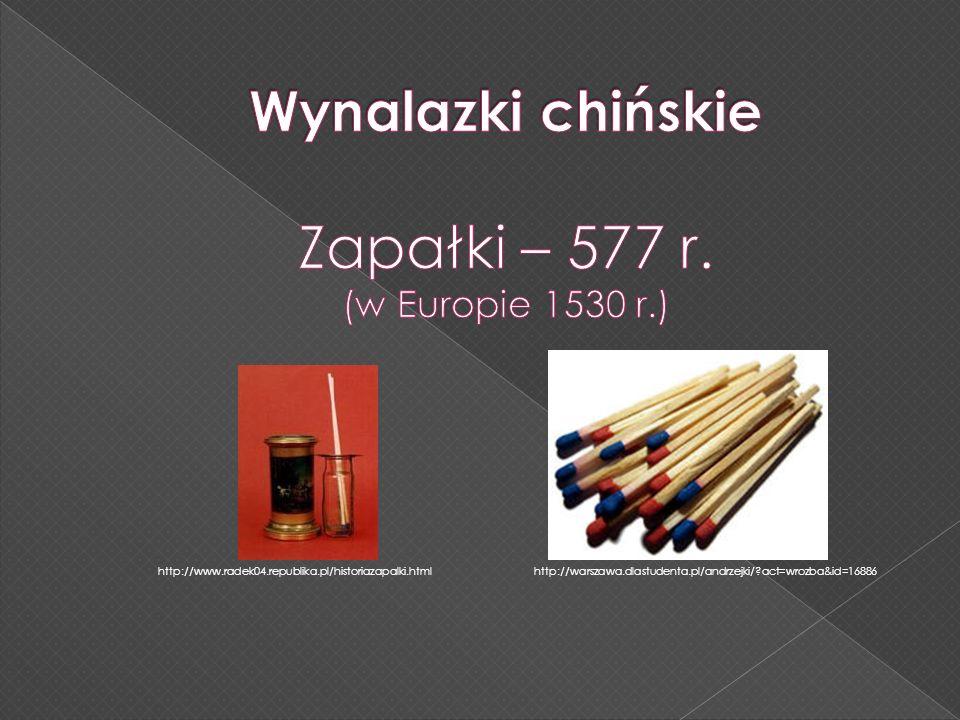 Zapałki – 577 r. Wynalazki chińskie (w Europie 1530 r.)