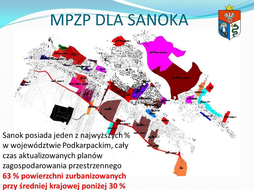 MPZP DLA SANOKA Sanok posiada jeden z najwyższych % w województwie Podkarpackim, cały czas aktualizowanych planów zagospodarowania przestrzennego.