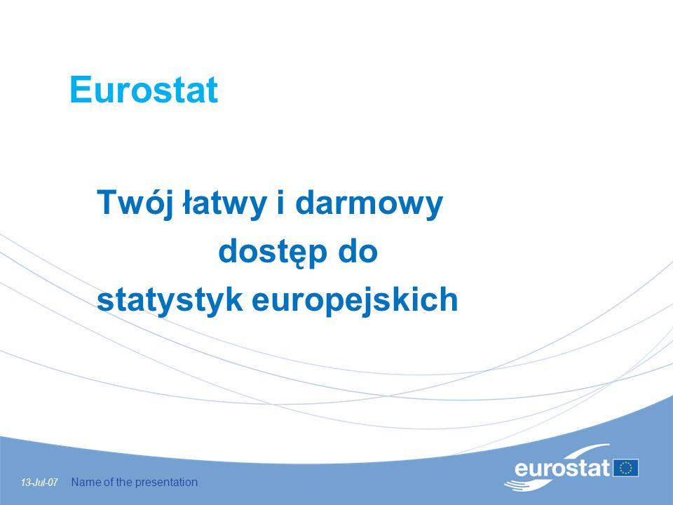 Eurostat Twój łatwy i darmowy dostęp do statystyk europejskich