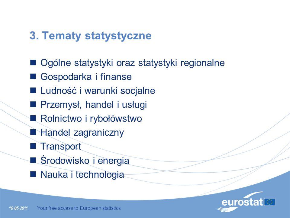 3. Tematy statystyczne Ogólne statystyki oraz statystyki regionalne