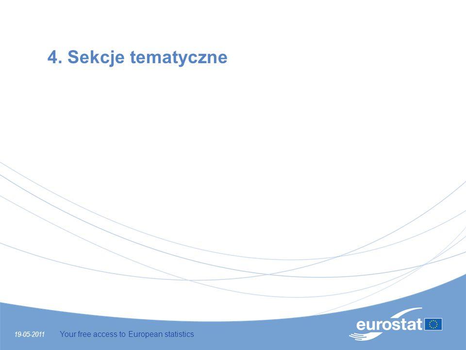 4. Sekcje tematyczne 19-05-2011 Your free access to European statistics